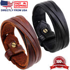 Men's Genuine Leather Wristband Bracelet Black or Brown Leather