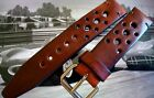 leather vintage brown rally sport racing watch strap 15,16,17,18,19,20,22,24mm