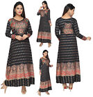 UK STOCK - Women Printed Bollywood Kurti Tunic Kaftan Top Shirt Dress KFT102A