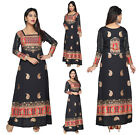 Women Printed Maxi Dress Bollywood Kurti Tunic Kaftan Top Black Printed KFT101A
