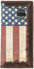 Back the Blue Distressed American Flag Long Leather Rodeo Wallet