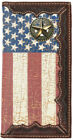 Fancy Rope & Star Distressed American Flag Long Leather Rodeo Wallet