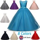 Girl Kid Lace Flower Bridesmaid Maxi Full Dress Party Princess Prom Wedding Gown