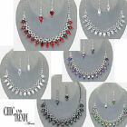 QUALITY CRYSTAL PROM WEDDING FORMAL NECKLACE JEWELRY SET CHIC AND TRENDY