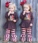US Cute Kid Baby Girl Thanksgiving Dress Tops Stripe Ruffle Pants Outfit Clothes