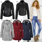 Womens Ladies Jacket Long Sleeve Coat Bomber Faux Leather Stud Short Trench Size
