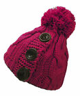 Ladies Chunky Cable Knit Bobble Hat with Decorative Buttons Beanie Pom Pom