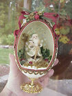 REAL Rhea Egg Collectible Decorated Carved Owl St. Nicholas Christmas Decoration
