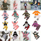 US Floral Kids Newborn Baby Boy Girls Hoodies Tops+Long Pants Outfit Clothes Set