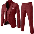 Fashion Men's Formal 3 Piece Slim Fit Check Retro Suit Prom Wedding Party Suits