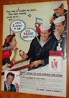 NEAT 1959 L&M CIGARETTES AD WITH SAILORS AD + VINTAGE ETHYL GASOLINE AD ON BACK