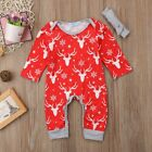 S-321 Christmas Infant Baby Boy Deer Plaid Christmas Romper 2 PC (Free Shipping)