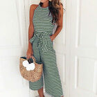 Women Striped Jumpsuit Loose Wide Leg Pants Rompers Holiday Belted Leotard