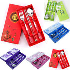 3PCS/Set Cutlery Stainless Steel Fork Spoon Chopsticks Chinese Tableware Gift