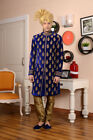 Indian Ethnic Wear Blue Color Velvet Embroidered Indo Western Dress From India