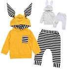 Newborn Baby Boy Girl Bunny Ear Hooded Tops+Pants Set Sweats