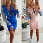 Uk Women Autumn Color Block Lace Up V-neck Mini Dress Ladies Casual Hoodie Dress