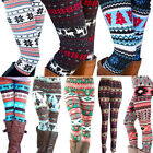 Women Warm Winter Knit Snowflake Nordic Xmas Leggings Tight Fleece Stretch Pants