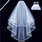 Veil White or Ivory 2T Wedding Bridal Veil Satin Edge With Comb 1.5m Length DFR