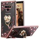 For Galaxy Note 9 Case Bling Diamond Cover Bumper Floral TPU Kickstand Rose Gold