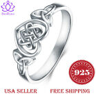 925 Sterling Silver Ring Boruo Celtic Knot Heart Eternity Wedding Band Size 4-12 image
