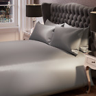 6 PIECE SATIN DUVET SET COVER FITTED SHEET BEDDING BEDROOM KING DOUBLE COMPLETE <br/> **4 PILLOWCASES**