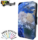 BEAUTIFUL PLANET EARTH IN SPACE PRINT - Leather Flip Wallet Phone Case Cover