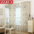 Rustic Floral Herb Printed Faux Linen Curtains for Living Room Bedroom Kitchen E