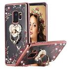 For Samsung Galaxy S9 Case Heavy Duty Full Body Cover Bling Diamond Floral Rose