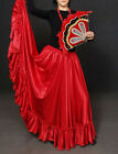 Red Satin Skirt 12 Yd Ruffle Full Circle Belly Dance Jupe Tribal Long Flamenco