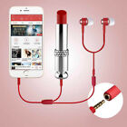 Lipstick Shape Mobile Phone Microphone + Headphones For iPhone Samsung WB1
