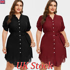Plus Size Womens Party Evening Asymmetric Short Mini Shirt Dress Ladies Cocktail