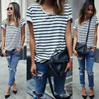 Fashion Women Lady Clothing T-Shirts Tops  Loose Striped Cotton Brief Short Slee