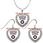 Houston Astros 925 Necklace / Earrings or Set Team Heart With Rhinestones on Ebay
