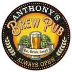 ANTHONY'S Beer Pub Man Cave Metal Sign Home Decor Round 100140025370