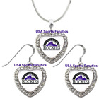 Colorado Rockies 925 Necklace / Earrings or Set Team Heart With Rhinestones on Ebay