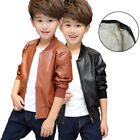 Kids Faux Leather Bike Warm Jacket Boy Girl Outwear Holiday Coats Size 2-9 Years