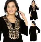 UNIFIEDCLOTHES®️ Top Women Tunic Short Kurti Kurta Dress Embroidery BH125 Black