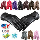 Womens Winter Warm Genuine Lambskin Leather Driving Soft Lining Cycling Gloves J