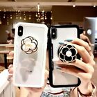 3D Fashion Camellia Airbag Stand Holder Case Cover for iPhoen XS Max XR 6S 7 8+