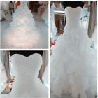 New White/Ivory Organza Bridal Gown Wedding Dress Stock Size:6 8 10 12 14 16 18