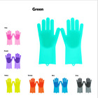 1Pair Magic Silicone Rubber Dish Washing Gloves Scrubber Cleaning Sponge US yk
