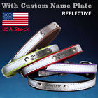 Personalized reflective Dog Collar with name plate Leather Custom Pet ID tag