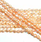 NP297 Pink 5mm Rice Cultured Freshwater Pearl Gemstone Beads 14""