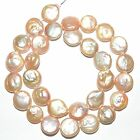 NP331 Pink 12mm Flat Round Coin Cultured Freshwater Pearl Gemstone Beads 15""