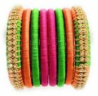 Women's Multicolor Silk Thread Bangle set
