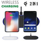 2 in 1 Fast Qi Wireless Charger Stand Dock Pad For Samsung Galaxy S7 S8 S9 WB2