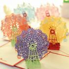 Handmade 3D Ferris Wheel Origami Pop Up Paper Laser Cut Vintage Post Cards Greet