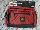 "deep red eagle creak vista travel waist pouch about 10""x 7"". great storage space"
