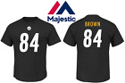 Mens Big and Tall Majestic Pittsburgh Steelers Antonio Brown Name and Number Tee